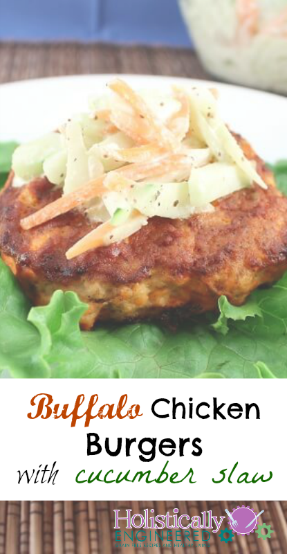 Buffalo Chicken Burgers with Cucumber Slaw