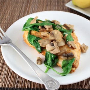 Spiced Chicken with Spinach and Mushrooms (Low Carb and Gluten Free)