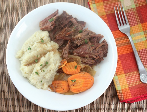 LOW CARB POT ROAST WITH ROASTED GARLIC MASHED CAULIFLOWER (GLUTEN FREE AND DAIRY FREE)
