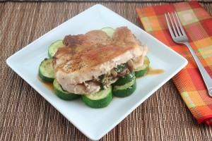 Low Carb Roasted Garlic, Spinach and Mushroom Stuffed Pork Chops (Gluten Free and Dairy Free)
