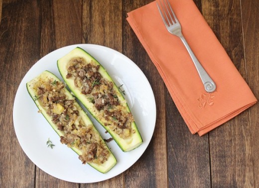 "Days 8 & 9 and #Whole30 Beef and ""Rice"" Stuffed Zucchini (#LowCarb and #Paleo)"