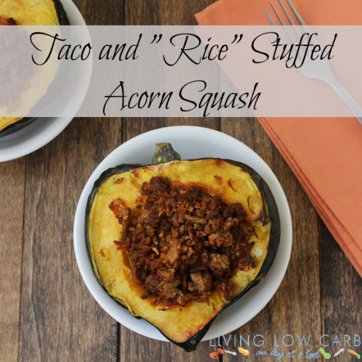 "#Whole30 Taco and ""Rice"" Stuffed Acorn Squash (Paleo and Low Carb)"