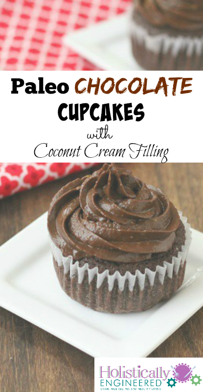 Paleo Chocolate Cupcakes with Coconut Cream Filling