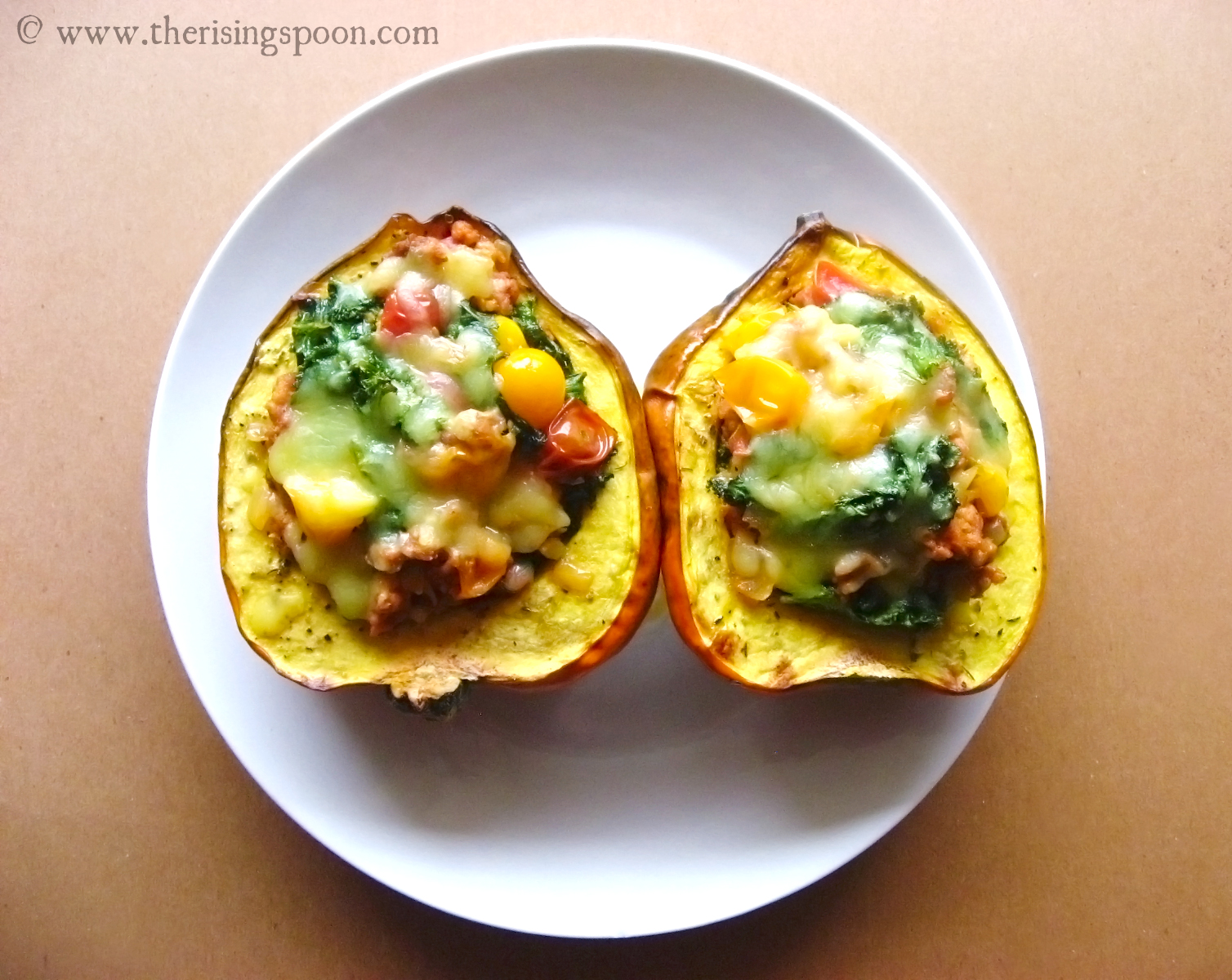 sausage stuffed acorn squash 1, guest post by The Rising Spoon