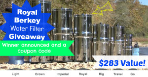 Royal Berkey Water Filter Giveaway Winner + Coupon Code