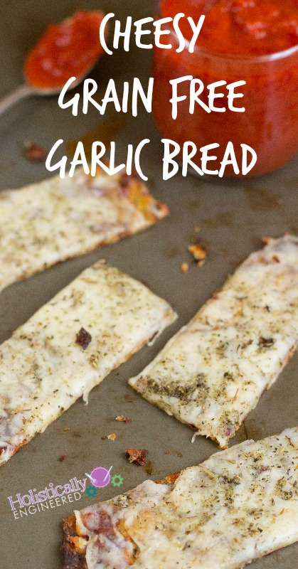 Cheesy Grain Free Garlic Bread | holisticallyengineered.com #grainfree #primal #lowcarb