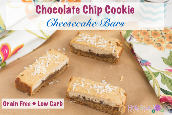 Grain Free Chocolate Chip Cheesecake Bars