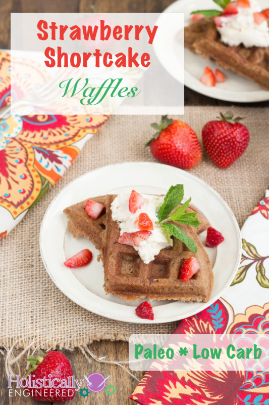 Paleo Strawberry Shortcake Waffles #grainfree #paleo #lowcarb