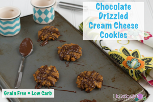 Chocolate Drizzled Cream Cheese Cookies (Grain Free and Low Carb)