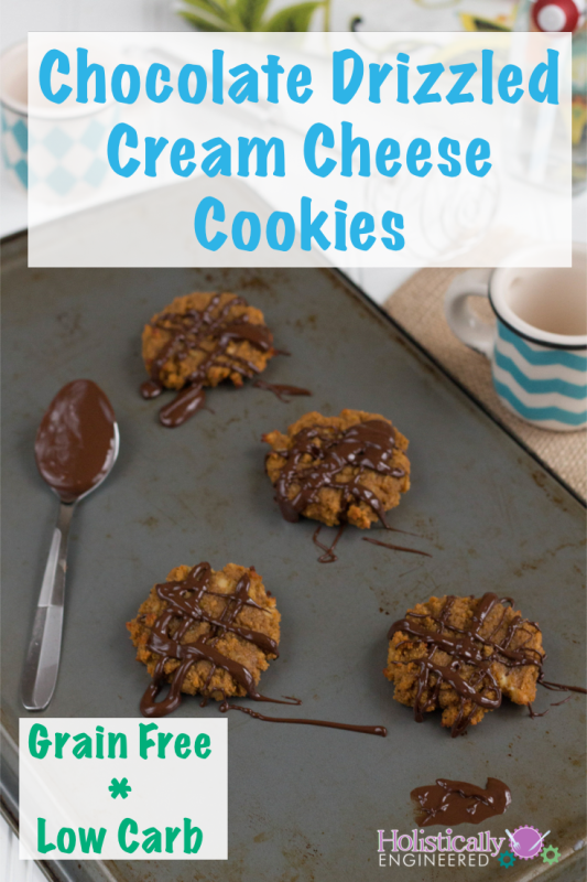Chocolate Drizzled Cream Cheese Cookies #GrainFree #Lowcarb