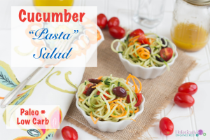 "Cucumber ""Pasta"" Salad (Low Carb and Paleo)"
