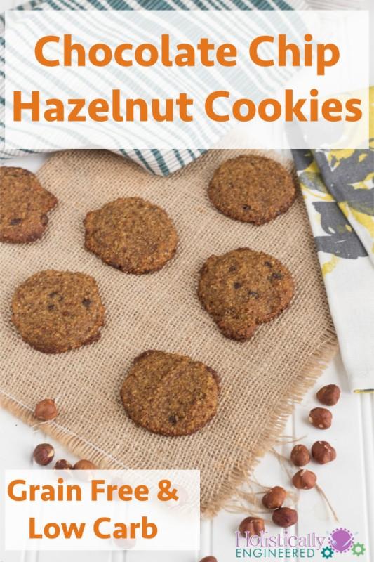 Grain Free Chocolate Chip Hazelnut Cookies #paleo #lowcarb