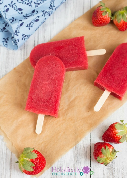 Paleo Strawberry Popscicles
